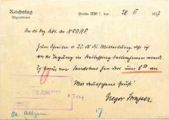 STRASSER, GREGOR, (1892-30.6.1934), 1925 führendes NSDAP-Mitglied, 1928 Reichsorganisationsleiter,