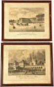 """2 ANSICHTEN ALTES BERLIN UM 1850 """"Die Klosterkirche und Klosterstraße"""" u. """"Das Universitätsgebäude"""","""