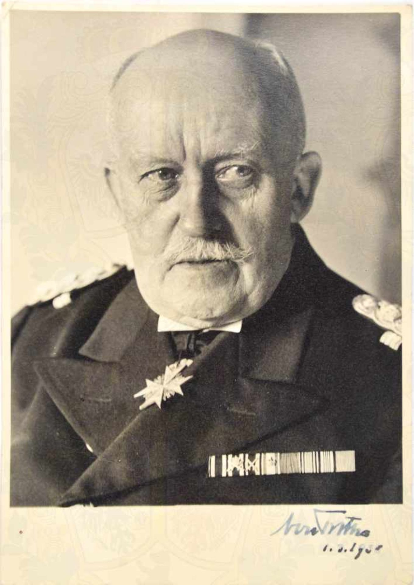 """Los 19 - TROTHA, Adolf von (1868-1940), Deutscher Admiral u. Seeheld, Tinten OU """"von Trotha, 1.3. 1938"""","""