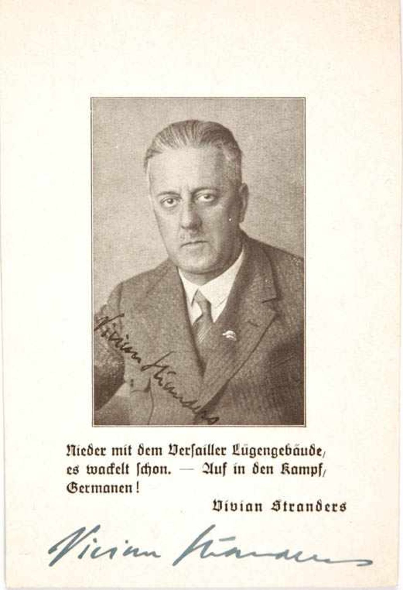 Los 24 - STRANDERS, VIVIAN (1881-1959), brit. Offz., ab 1920 in Deutschland, 1933 eingebürgert, u. a.