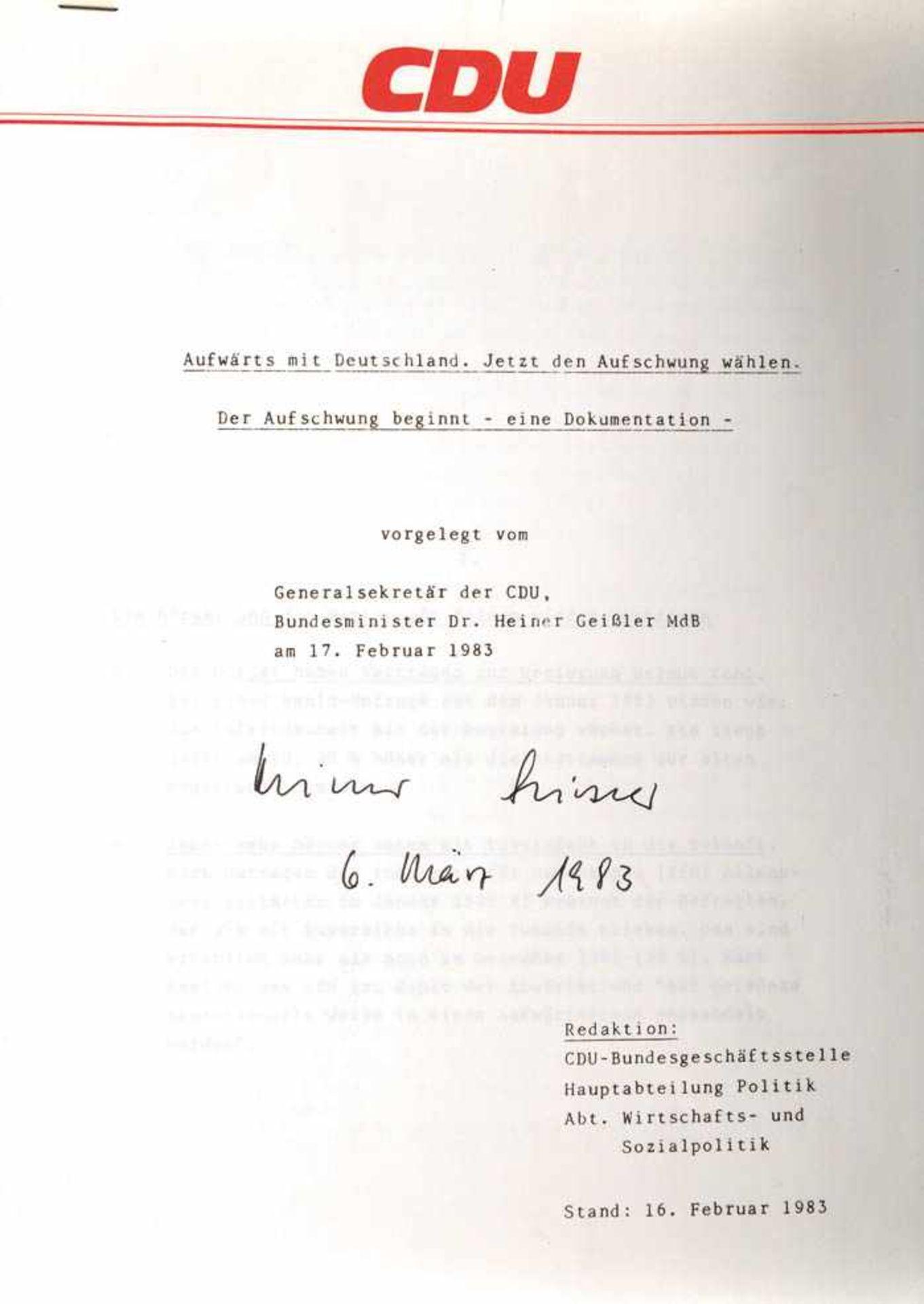 Los 31 - GEIßLER, DR. HEINER, (1930-2017), dt. Politiker, Generalsekretär d. CDU, Bundesminister f. Jugend u.