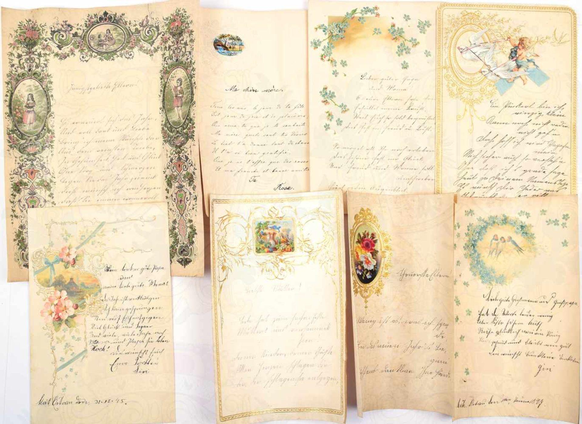 Los 57 - 17 SCHMUCKBRIEFE 1870-1899, farb. Vordrucke mit Motiven, tls. goldgepr., m. Feder u. Bleistift