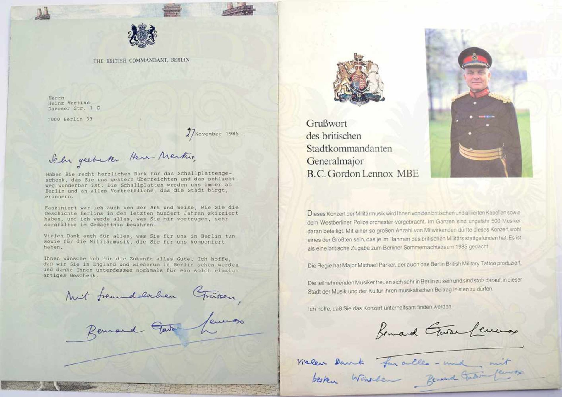 Los 30 - GORDON-LENNOX, BERNARD C., (1932-2017), brit. Generalmajor, Okt. 83-Dez. 85 Kdt. d. brit. Sektors in