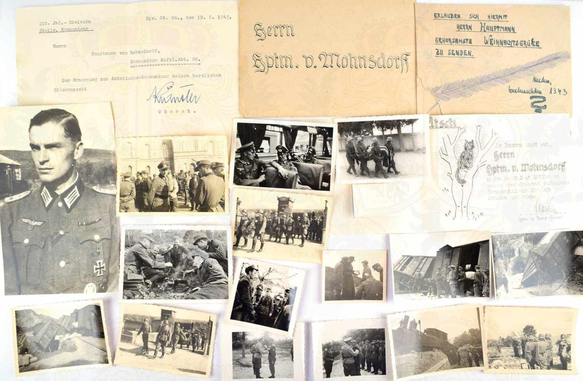 FOTO-/DOKUMENTENNACHLASS, Major Hans Erich von Mohnsdorff, (Hannover 1915, gefallen 30.9. 1944 in