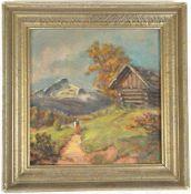 KLEINES GEMÄLDE ALPSPITZE, expressionistisch-realistische Darstellung des Alpspitz-Massivs im