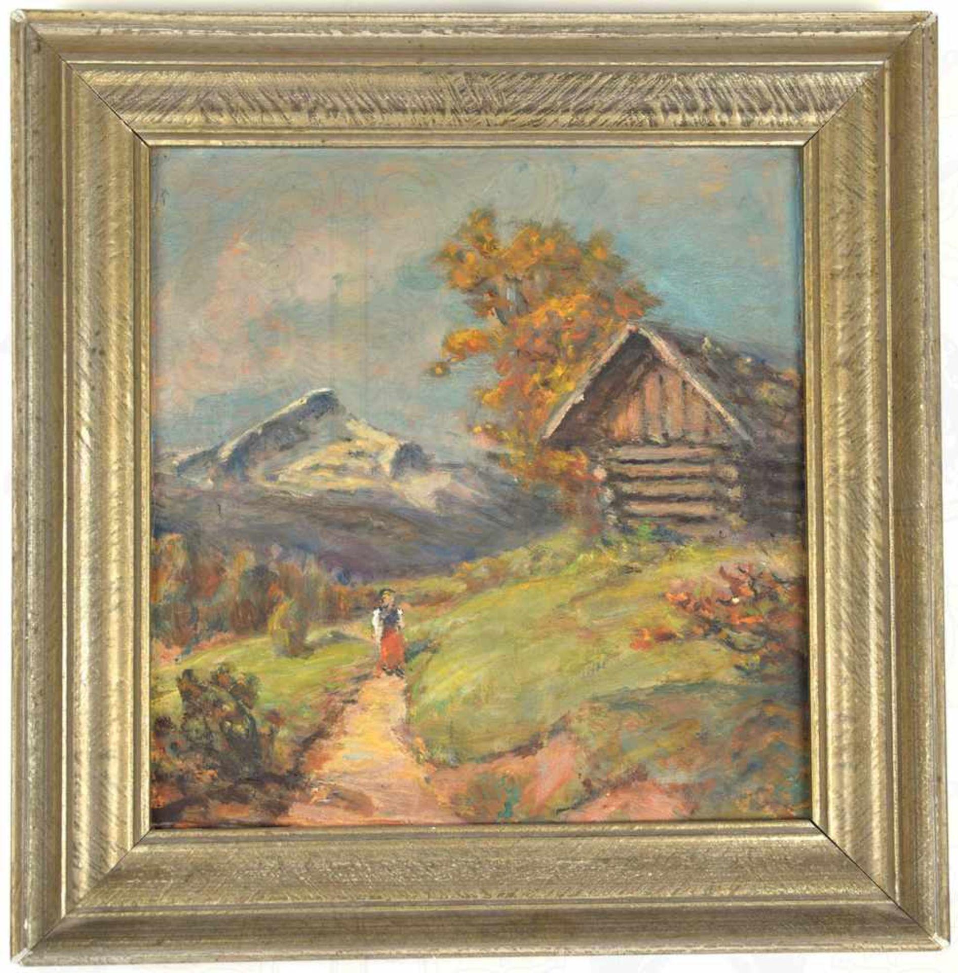 Los 56 - KLEINES GEMÄLDE ALPSPITZE, expressionistisch-realistische Darstellung des Alpspitz-Massivs im