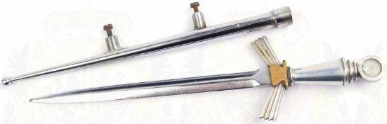 BRIEFÖFFNER, blanke zweischneidige Klinge, L. 14cm, Griffteile Weißmetall/Tombak, vernickelte