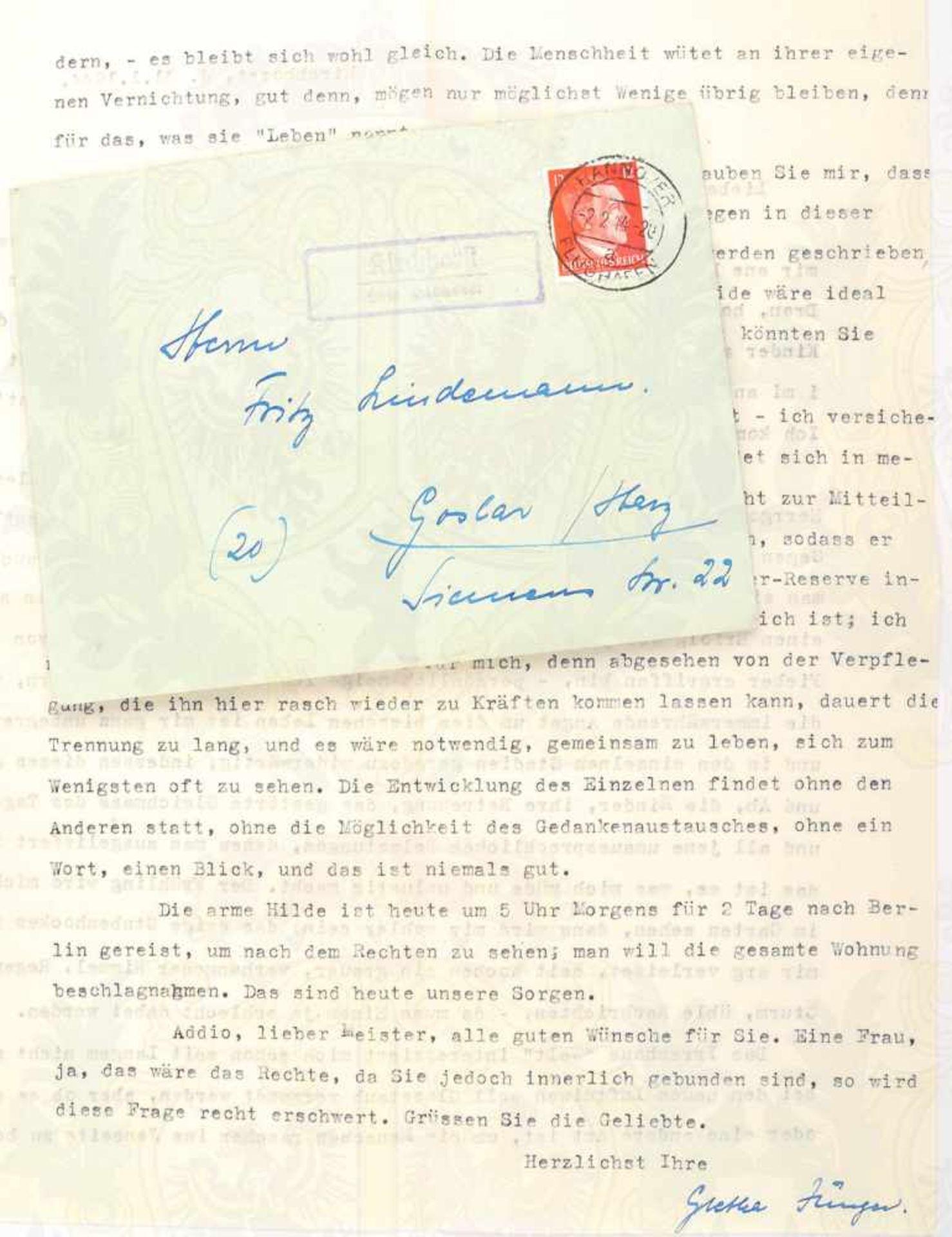 Los 29 - JÜNGER, GRETHA, geb. von Jeinsen (1906-1960, Ehefrau d. Schriftstellers Ernst Jünger, 1895-1998),