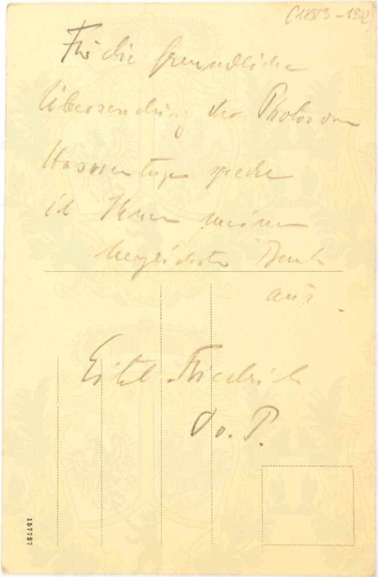 """Los 21 - EITEL FRIEDRICH PRINZ VON PREUßEN, (1883-1942), eigenhändige Bleistift-Widmung """"Für d. freundliche"""