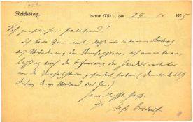 BROCKDORF-RANTZAU, ULRICH VON (1859-1928), Dez. 1918 erster Außenminister d. Weimarer Republik, 1922