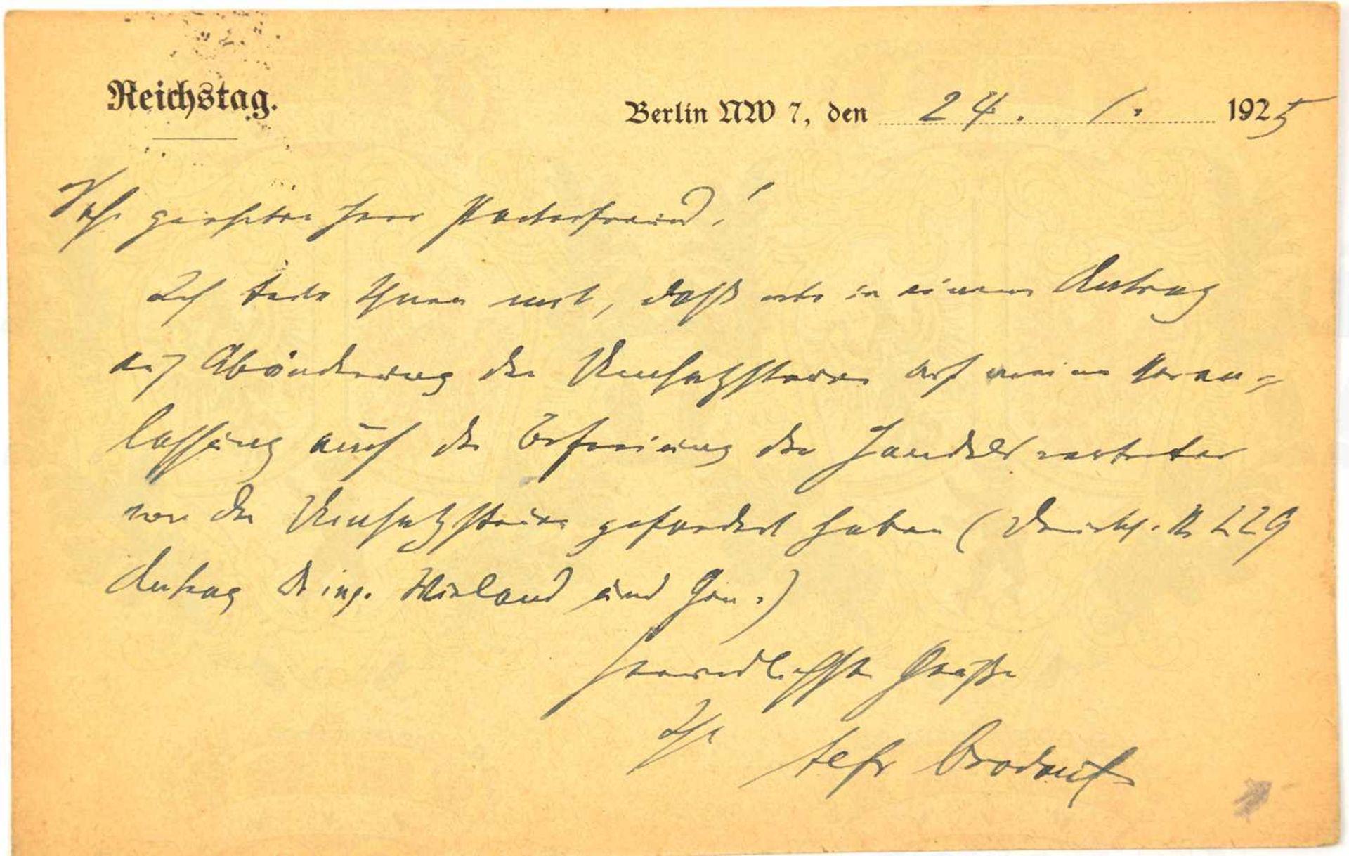 Los 22 - BROCKDORF-RANTZAU, ULRICH VON (1859-1928), Dez. 1918 erster Außenminister d. Weimarer Republik, 1922