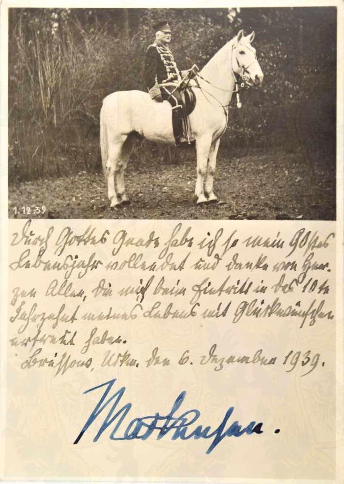 Los 13 - MACKENSEN, August von (1849-1945), Kgl. Preußischer Generalfeldmarschall, Heerführer u.