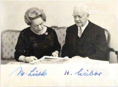 """LÜBKE, Heinrich (1894-1972), 2. Bundespräsident, Tinten OU """"H. Lübke"""" sowie Ehefrau """"W. Lübke"""","""