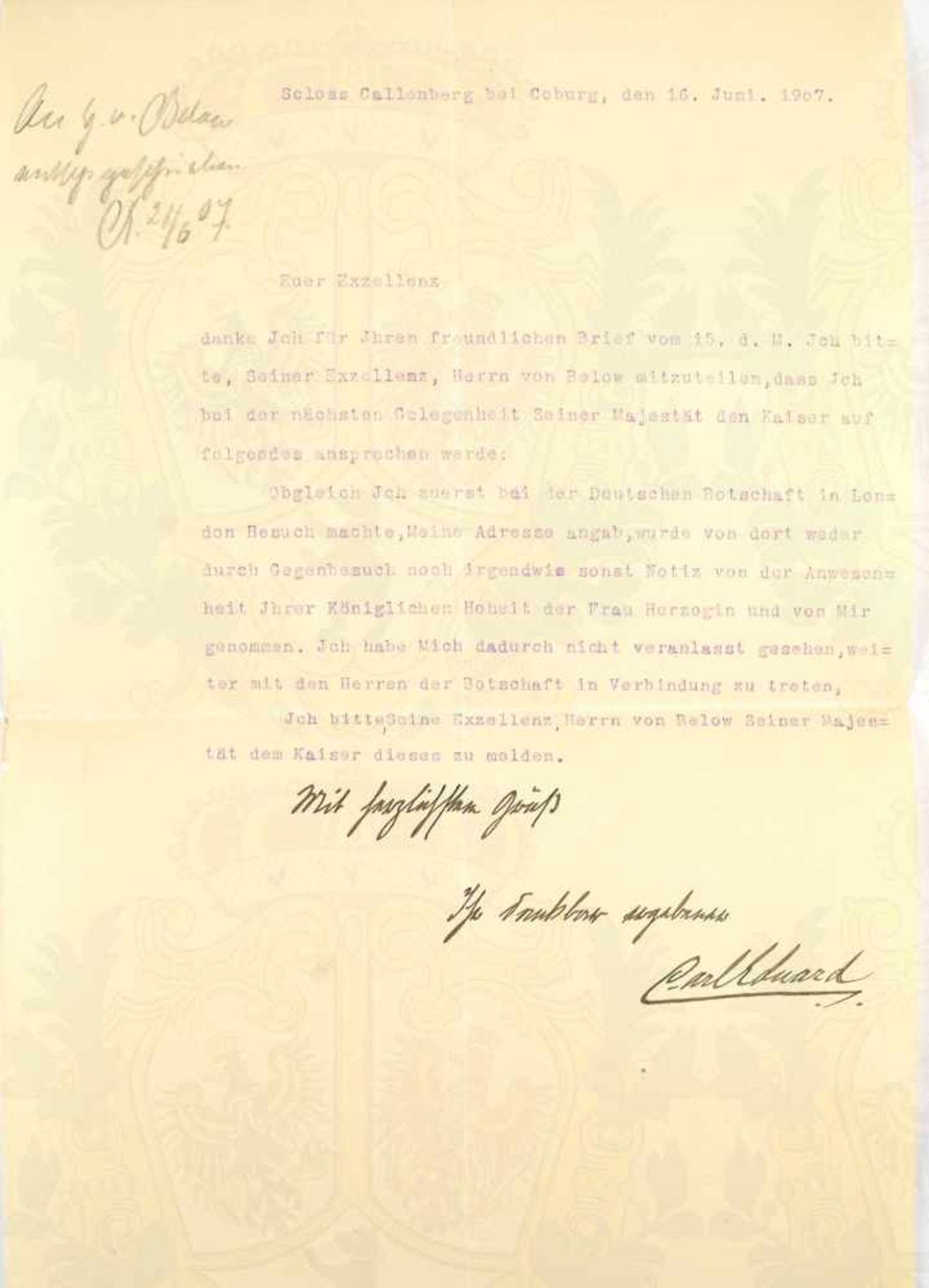 """Los 12 - CARL EDUARD, letzter Herzog v. Sachsen-Coburg-Gotha (1884-1954), Tintenwidmung """"Mit herzlichsten"""