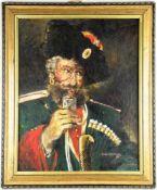 PORTRAIT ZARISTISCHER KOSAK, Ölfarbe auf Holz, in Uniform, m. Pelzmütze u. Schaschka, farbenkräftige