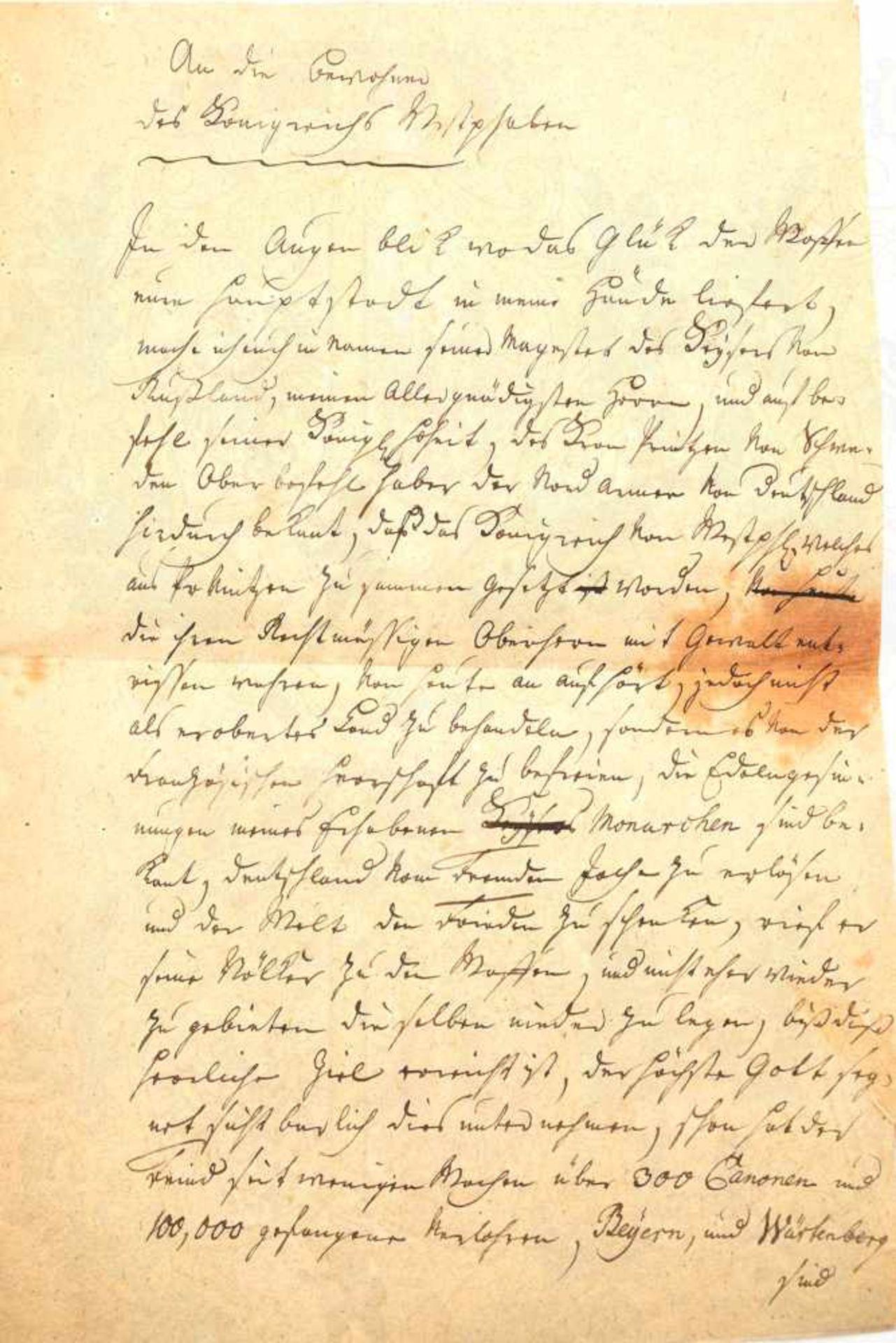 Los 11 - TSCHERNISCHEFF, ALEXANDER FÜRST, (1786-1857, Kaiserlich Russischer General, später Kriegsminister,