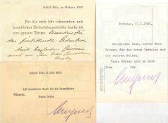 """WILHELM, Kronprinz d. Dt. Reiches u. v. Preußen (1882-1951), 2 OU """"Wilhelmus"""" auf Postkarten,"""