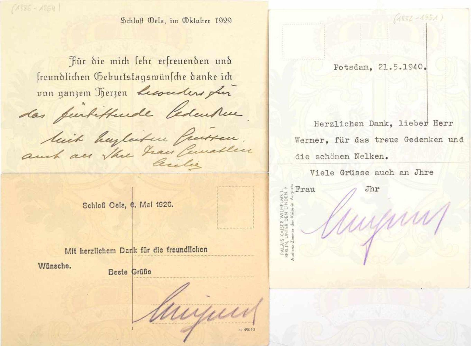 """Los 10 - WILHELM, Kronprinz d. Dt. Reiches u. v. Preußen (1882-1951), 2 OU """"Wilhelmus"""" auf Postkarten,"""