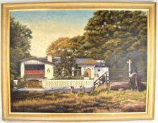 ÖLGEMÄLDE SCHILDHORNBAUDE AN DER HAVEL, Ölfarbe auf Leinwand, Ansicht der Gaststätte Mitte der