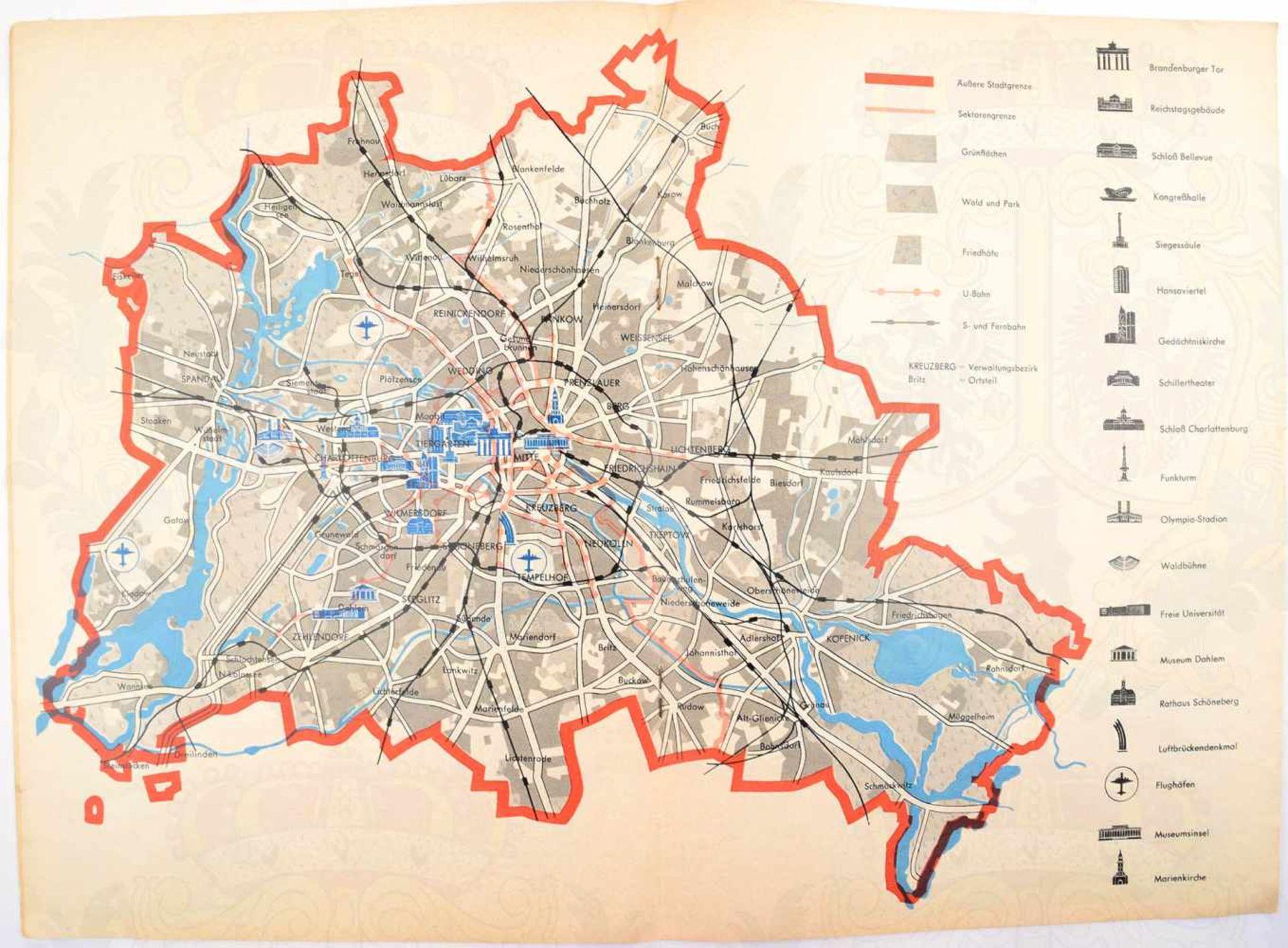 "Los 44 - 5 TEILE BERLIN: Broschüre ""Berlin als Vergnügungsstadt"", 1911, 56 S., gr. A4; 2 Stadtpläne, 1953;"