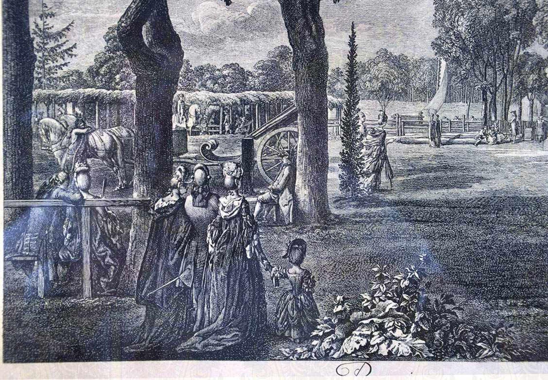 "Los 34 - RADIERUNG ""PREMIERE PROMENADE DE BERLIN"", ""La place des Tentes au Parc"", Darstellung um 1772,"