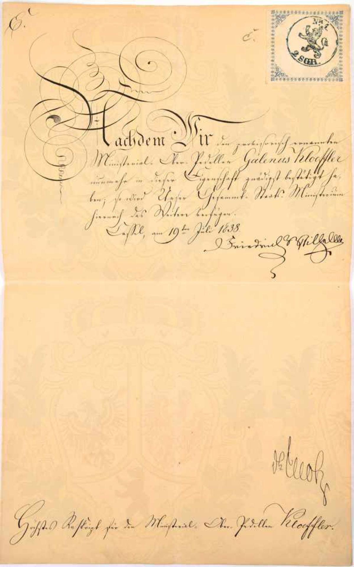 """Los 14 - FRIEDRICH WILHELM I., letzter Kurfürst v. Hessen-Kassel (1802-1875), Tinten OU """"Friedrich"""