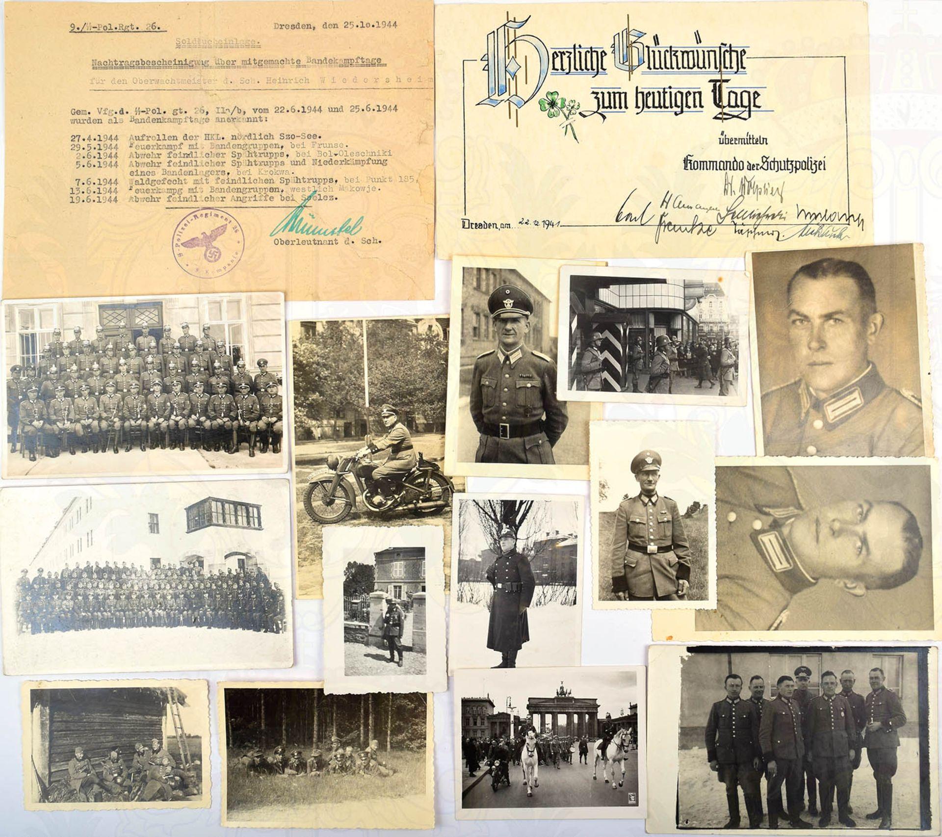 NACHLASS OBERWACHTMEISTER SS-POLIZEI-REGIMENT 26, 14 Fotos u. AK; Bescheinigung über 7