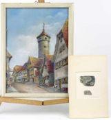 """Wassermann, Paul """" Wehrturm in Rothenburg """" & Radierung"""