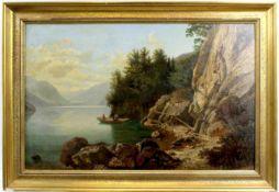 "Dahl, Carl ( 1812 - 1887 ) "" Ruderboot auf dem Gebirgssee """