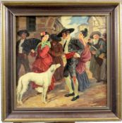 """ Galante Spanische Szene "" Gemälde um 1910<"