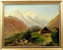"Jeannet, E., "" Almhütte in der Schweiz ""<"