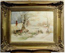 """A. Schneider """" Mühle in Winterlandschaft """"<"""