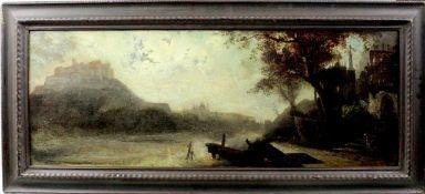 """Carl Spitzweg attr. """" Rheinische Flusslandschaft mit Burg """""""