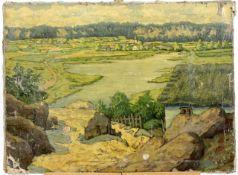 """Undeutlich signiert """" Flusslandschaft """" um 1910"""