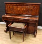 A Victorian burr walnut and marquetry upright piano, by William Squire, London, Full Trichord,
