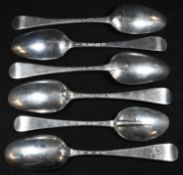 A George I silver Hanoverian pattern table spoon, rat 19.5cm long, London 1719; another, George