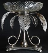 A Victorian Naturalistic E.P.N.S table centrepiece, the shaped circular cut glass epernge bowl