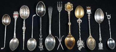 A collection of silver souvenir spoons, various forms and countries of origin (12), 4oz gross