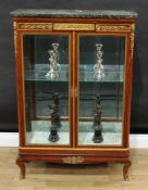 A Louis XVI Revival gilt metal mounted satinwood vitrine, marble top above a deep frieze centred