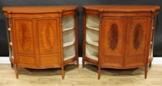 A pair of Sheraton Revival rosewood crossbanded satinwood and marquetry serpentine side cabinets,