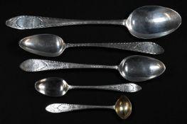 An Irish Provincial silver Bright-cut Celtic Point pattern table spoon, 23.5cm long, John