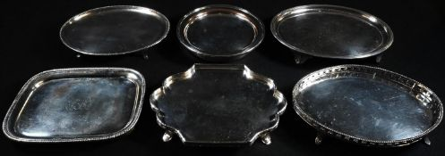 A George III Old Sheffield plate shaped oval teapot stand, the applied gallery bright-cut
