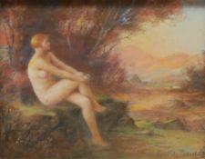 Paul de Plument de Bailhac (1864 ? 1951) Naked Female at Sunset signed, pastel, 19.5cm x 25cm