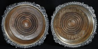 A pair of post-Regency Old Sheffield Plate shaped circular wine coasters, gadrooned acanthus