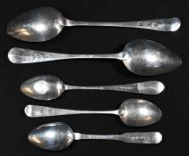 A pair of 19th century Scottish provincial silver Old English pattern dessert spoons, 17.5cm,