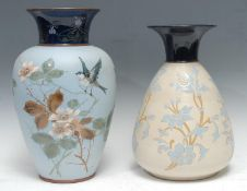 A Langley Ware ovoid vase, impasto decorated with blue tit, flowers and foliage, in colours,
