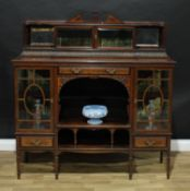 A late Victorian rosewood salon side cabinet, shallow superstructure with a glazed vitrine