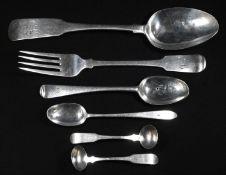 An Irish Provincial silver Fiddle pattern tavble spoon, 23.5cm long, Heyland, Cork, c.1810; a Fiddle