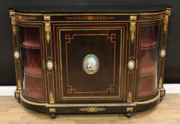 A 19th century gilt metal and porcelain mounted marquetry and ebonised credenza, slightly