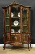 A French Louis XV Revival gilt metal mounted rosewood and Vernis Martin bombe-shaped vitrine,